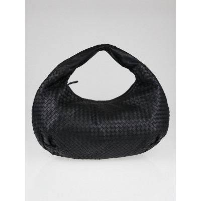 Bottega Veneta Black Intrecciato Woven Nappa Leather Large Belly Hobo Bag