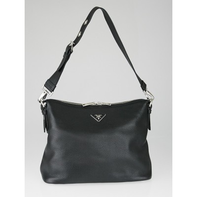 Prada Black Vitello Daino Leather Zip Top Hobo Bag BR5122