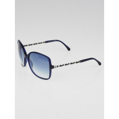 Chanel Blue Frame Glasses : Chanel Blue Frame Gradient Tint Chain-Link Sunglasses-5210 ...