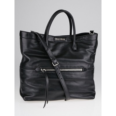 Miu Miu Black Vitello Milleni Leather 2Way Tote Bag