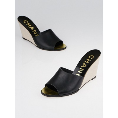 Chanel Black Leather  Slide Mule Wedges Size 8.5/39