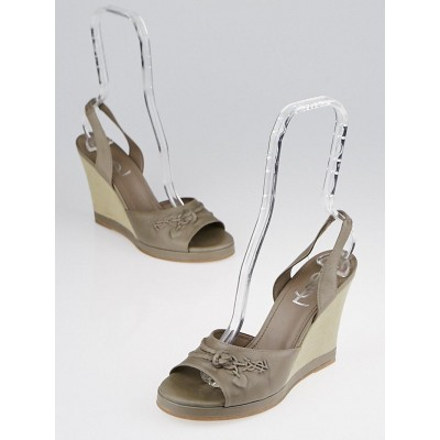 Yves Saint Laurent Taupe Charms Wedge Slingback Sandals Size 7.5/38