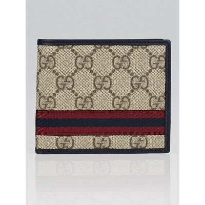 Gucci Beige/Navy GG Coated Canvas Supreme Web Bi-Fold Wallet
