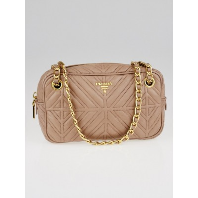 Prada Cammeo Nappa Mosaico Quilted Leather Bandoliera Bag