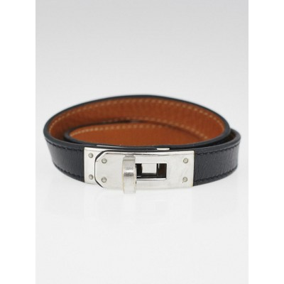 Hermes Black Swift Leather and Palladium Plated Kelly Double Tour Bracelet Size M