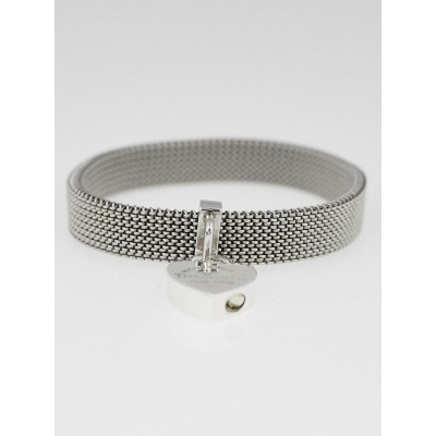 Tiffany & Co. Sterling Silver Return to Tiffany Heart Lock Stainless Steel Somerset Stretch Bracelet