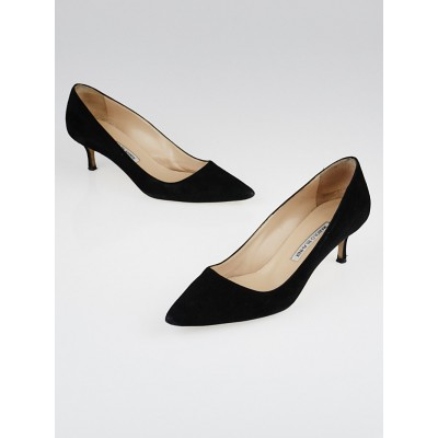 Manolo Blahnik Black Suede BB 50 Pointed Toe Pumps Size 6.5/37