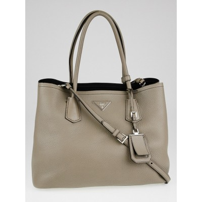 Prada Grey Vitello Daino Leather Double Handle Tote Bag B2756T