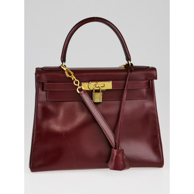Hermes Rouge H Box Leather Gold Plated Hardware Kelly Retourne Bag