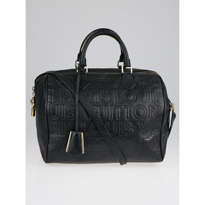 Louis Vuitton Limited Edition Black Monogram Paris Embossed Leather Speedy Cube 30 Bag