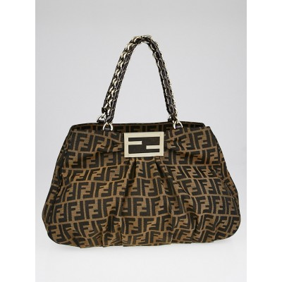 Fendi Tobacco Zucca Print Canvas Mia Shoulder Bag