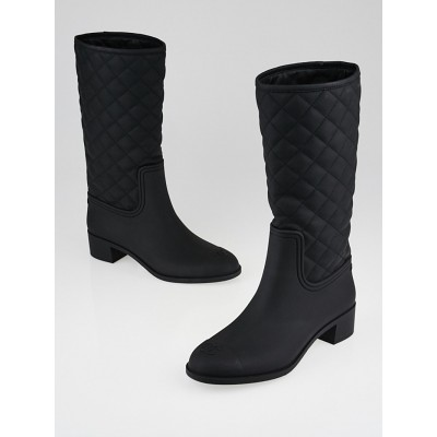 Chanel Black Quilted Rubber Rain Boots Size 8.5/39