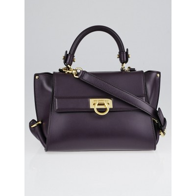 Salvatore Ferragamo Dark Purple Smooth Calfskin Leather Small Sofia Bag