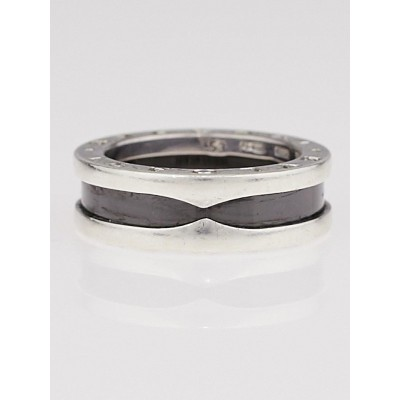 Bvlgari Sterling Silver and Ceramic B.Zero1 Save The Children Ring Size 6.5/53