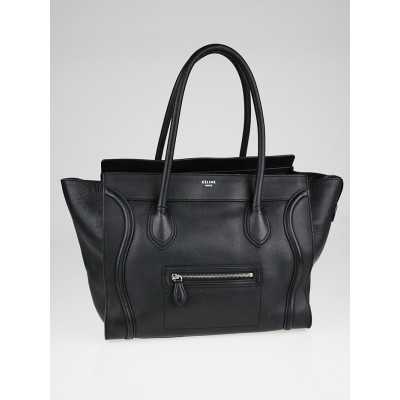 Celine Black Drummed Leather Shoulder Luggage Tote Bag
