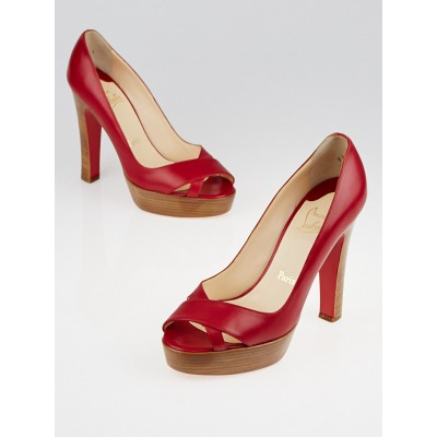 Christian Louboutin Red Leather Peep Toe Platform Heels Size 8.5/39