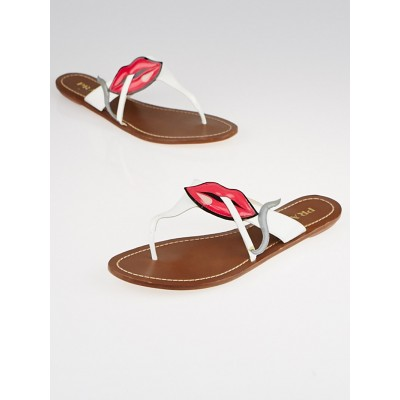 Prada White Patent Leather Smoking Lips Thong Sandals Size 7.5/38