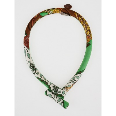 Hermes Multicolor Green Silk Petit H  Carre Toggle Necklace