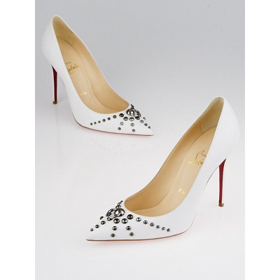 Christian Louboutin White Leather Door Knock 100 Studded Pumps Size 7.5/38
