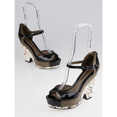 Chanel Black Patent Leather and Brown Leather Platform Wedges Size 8.5/39