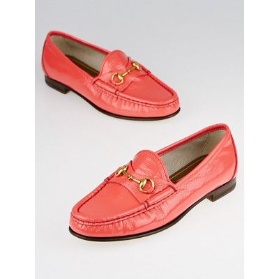 Gucci Begonia Pink Patent Leather Horsebit Loafers Size 4/34.5