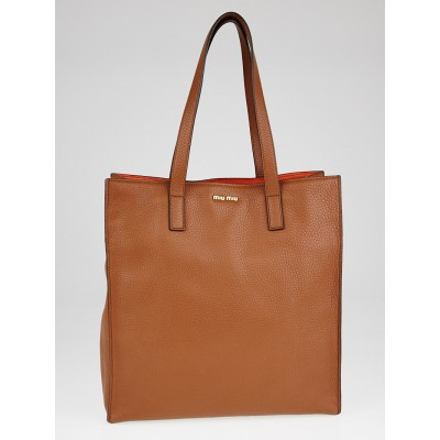Miu Miu Brandy Vitello Daino Leather Shopper Tote Bag 5BG013