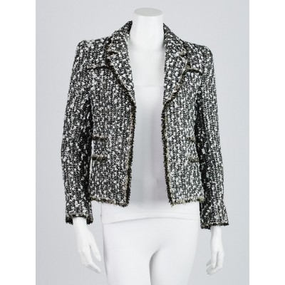 Chanel Green Wool Blend Tweed Jacket Size 2/34