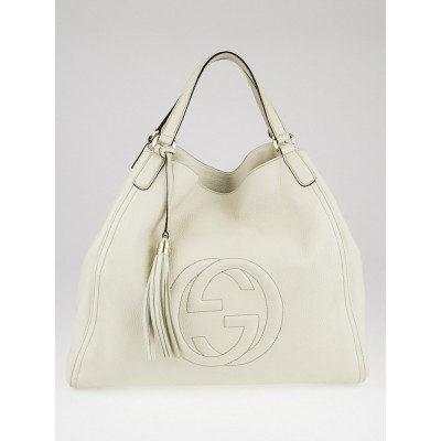 Gucci White Pebbled Leather Soho Large Tote Bag
