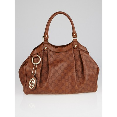Gucci Brown Guccissima Leather Medium Sukey Tote Bag
