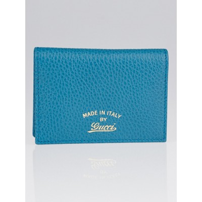 Gucci Teal Swing Leather Train Pass Card Holder