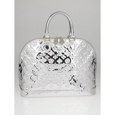 Louis Vuitton Limited Edition Silver Monogram Miroir Alma MM Bag
