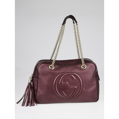 Gucci Metallic Burgundy Pebbled Leather Soho Chain Large Shoulder Bag