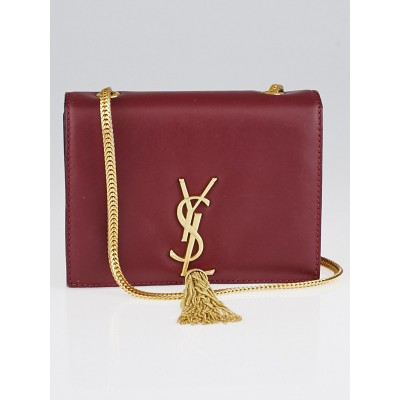 Yves Saint Laurent Burgundy Leather Classic Monogram Tassel Small Flap Bag