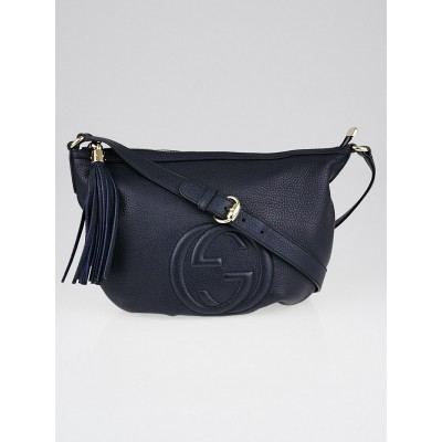 Gucci Navy Blue Pebbled Leather Soho Messenger Bag