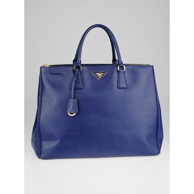 Prada Cobalt Saffiano Lux Leather Double Zip Executive Tote Bag BN1802