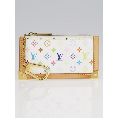Louis Vuitton White Monogram Multicolore Canvas Pochette Cles Key and Change Holder