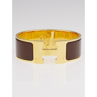 Hermes Brown Enamel Palladium Plated Clic-Clac H PM Wide Bracelet