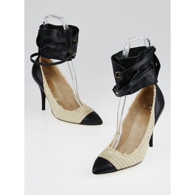 Isabel Marant Rope Canvas and Black Calf Leather Gwen Pumps Size 6.5/37