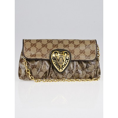 Gucci Beige GG Crystal Coated Canvas Babouska Heart Clutch Bag