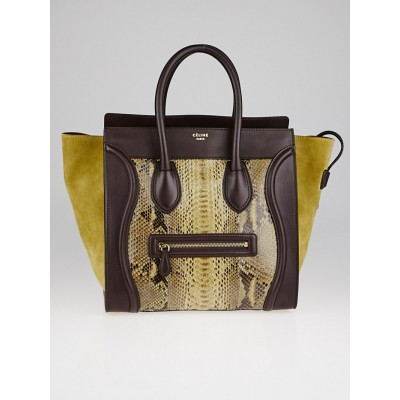 Celine Brown Python and Leather Mini Luggage Tote Bag