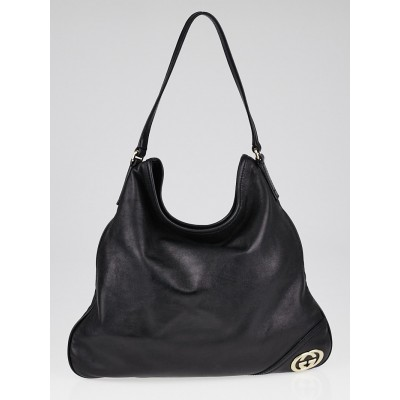 Gucci Black Leather Medium Britt Hobo Bag