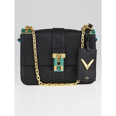 Valentino Black Pebbled Leather B-Rockstud Flap Bag