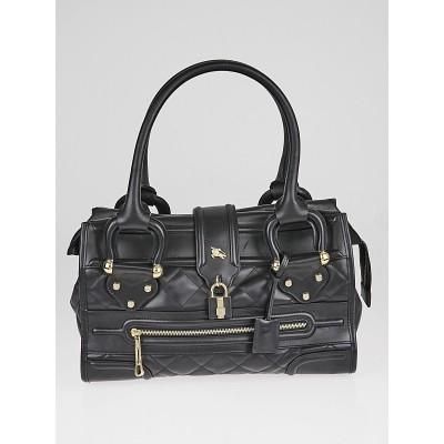 Burberry Black Quilted Leather Large Manor Tote Bag