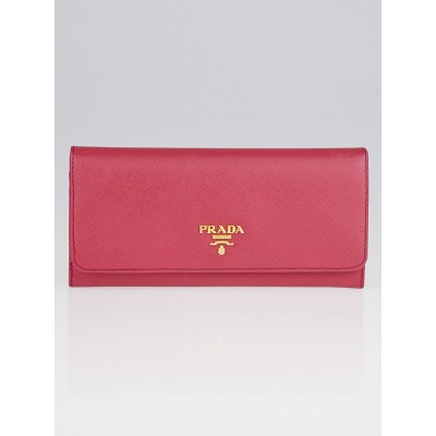 Prada Ibisco Saffiano Metal Leather Continental Wallet 1M1132