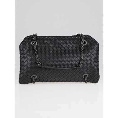 Bottega Veneta Black Intrecciato Woven Nappa Leather Duo Bag