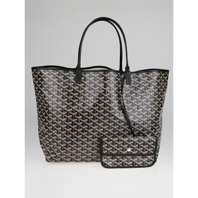 Goyard Black Chevron Print Coated Canvas St. Louis GM Bag