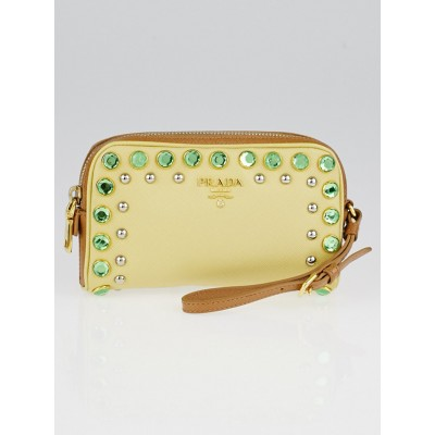 Prada Ananas Saffiano Borchi Leather Jeweled Wristlet Clutch Bag 1N021M