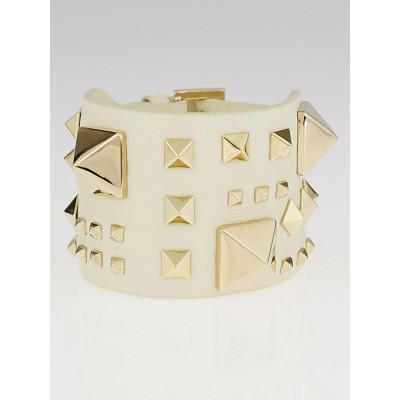 Valentino White Leather Rockstud Bracelet