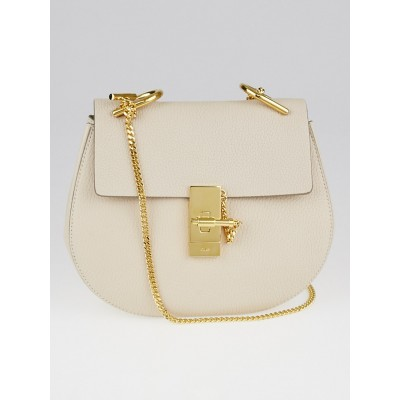 Chloe Abstract White Pebbled Leather Small Drew Bag