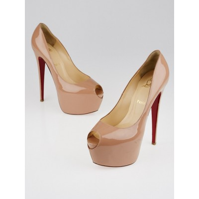 Christian Louboutin Nude Patent Leather Jamie 160 Peep Toe Pumps Size 10.5/41